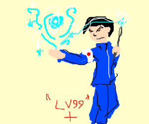 high level Japanese wizard casting ball of ice