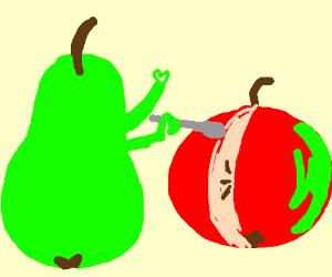 pear cuts an apple