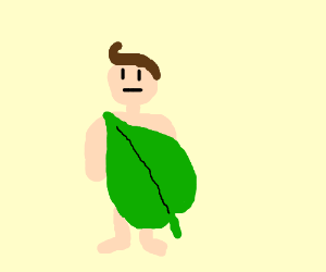 Man clothes himself in giant leaf