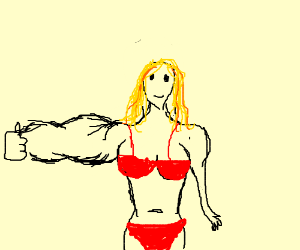 blonde with bikini have muscle right hand