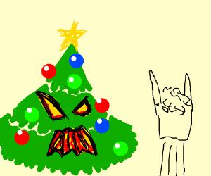 An evil christmas tree scarying a boy
