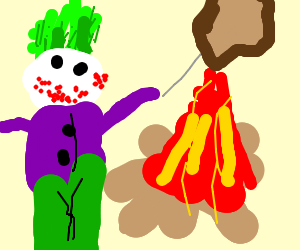 the joker making toast on a campfire