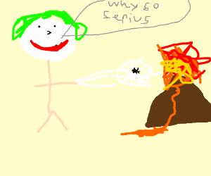 The joker slings web at a volcano