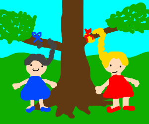 Two girls tied their hair to a tree