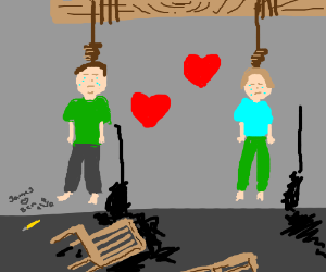two people hung themselves together, for love