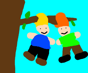Two guys hang themselves by their hair