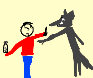 red shirted boy wont give wolf pepper