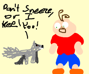 Wolf tells boy not to sneeze