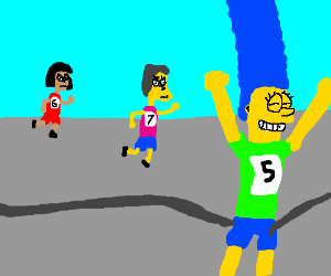 Marge Simpson crosses the finish line first!