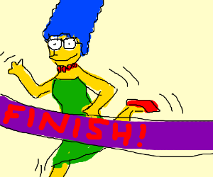 Marge Simpson wins a marathon