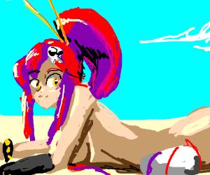 Girl in bikini sun tanning
