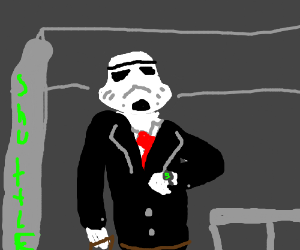 suit clad stormtrooper checks watch at busstop