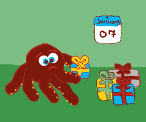 Octopus hasn't been able 2 open Xmas gifts yet