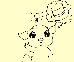 pig has lightbulb idea involving a top hat