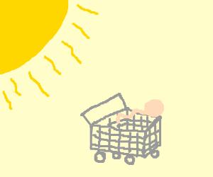 sperm running from sun in shopping cart!