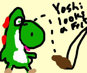 yoshi stares at peoples feet