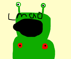 Green alien with red nipples saying ayy lmao