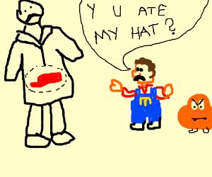 Mario's hat found inside man's stomach