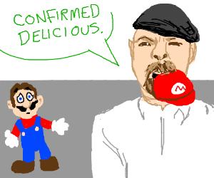 Jamie Hyneman just ate Mario's hat!