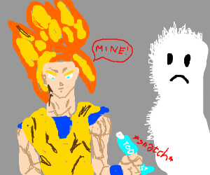Super sayain steal toothpaste from hairy ghost