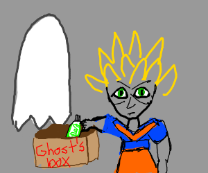 super saiyan goku steals toothpaste from ghost