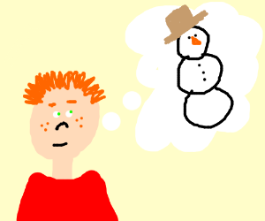 Ginger boy daydreams of snowman with amish hat