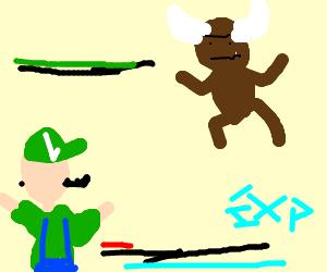 Luigi in a Pokemon-style battle with Minotaur.