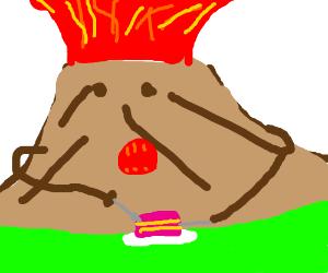 volcano eats cake or something