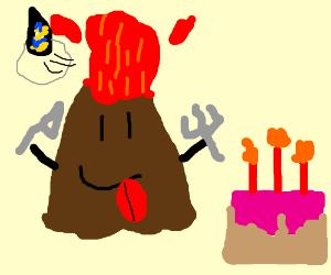 Erupting volcano eating cake with fork&knife