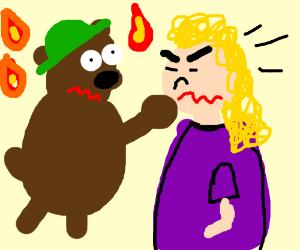 Smokey the bear punching someone
