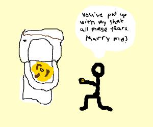 Man proposes to toilet.
