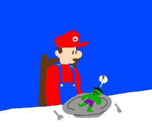 Giant Mario about to eat tiny Hulk