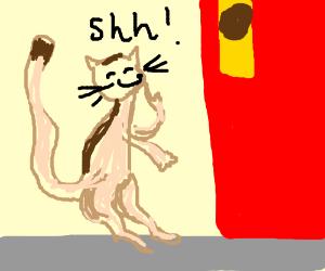 cats sneak across a kitchen door