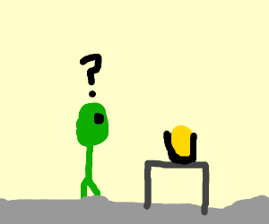 Alien is confused by bottle of urine.