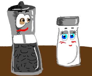 Pepper shaker oggling shy salt shaker.