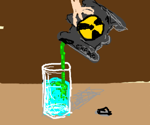 Pouring radioactive waste into water