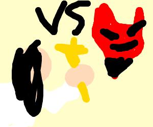 Google-eyed Jesus vs Demon head (Regular Show)