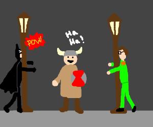 Lennon & Batman bump lamppost, Viking laughs
