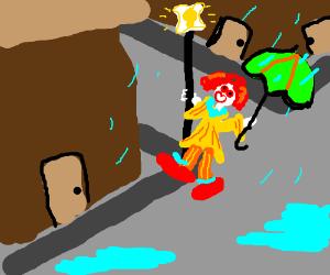 Clown in the rain