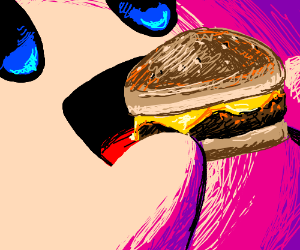 Kirby eats a cheeseburger