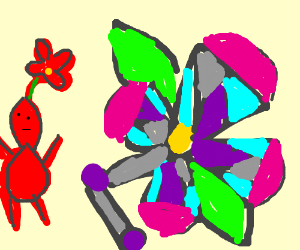 Red Pikmin builds a flower robot