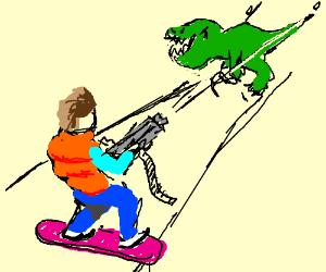 Marty McFly shoots a dinosaur
