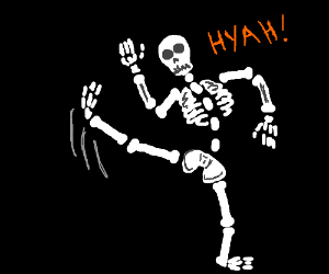 Skeleton does a high kick