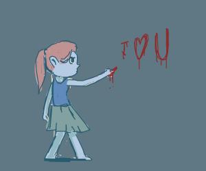little girl writes I <3 U in blood