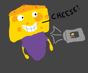 "The man made of cheese says ""cheese!"" oncamera"