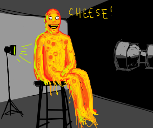 Cheese man said cheese for his photo