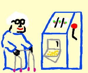 Granny plays the slots