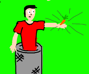 Man of Bins wields a carrot