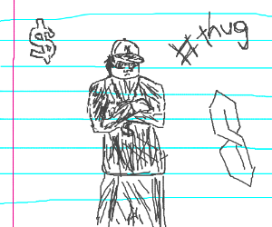 thug drawn on lined paper