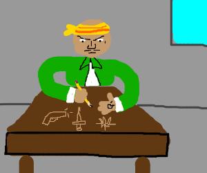 drawing thug stuff in the classroom